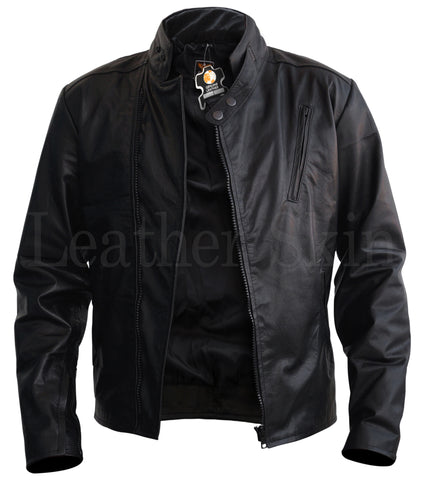 Men Black Fashion Leather Jacket - Natal Fashion