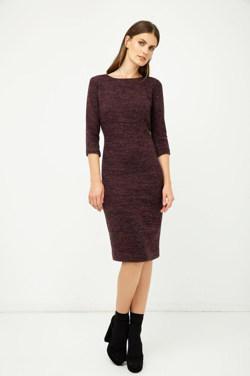 Woollen Aubergine Winter Fitted Dress - Natal Fashion