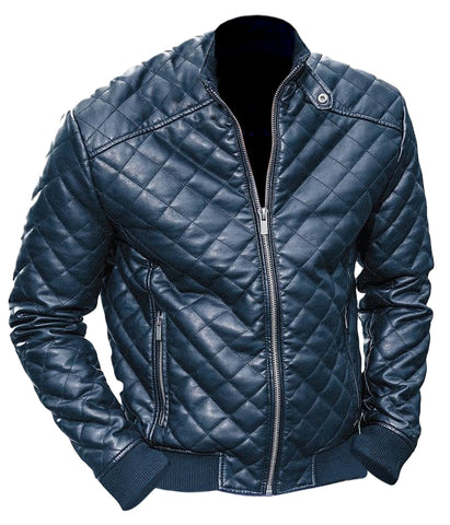 Men Black Diamond Quilted Leather Jacket - Natal Fashion