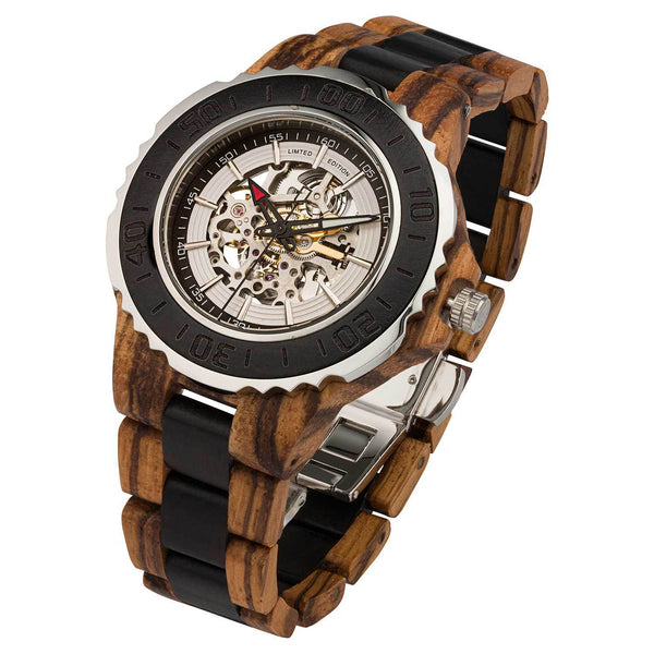 NEW! Men's Genuine Automatic Zebra & Ebony Wooden Watches No Battery Needed - Natal Fashion