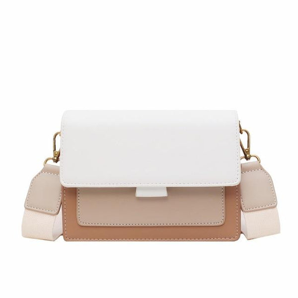Luxury Contrast Leather Crossbody Bag - Natal Fashion