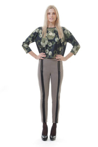 Zip Detail Panelled Pants - Natal Fashion