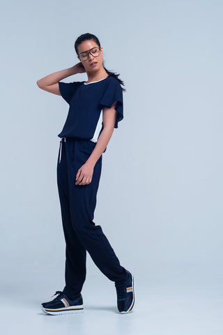 Navy Blue Jumpsuit With Short Sleeve and Ruffle Detail - Natal Fashion
