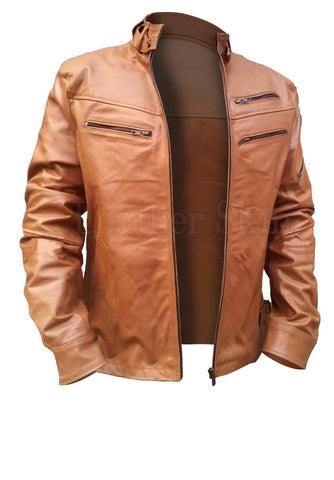 Light Brown Men Leather Jacket - Natal Fashion