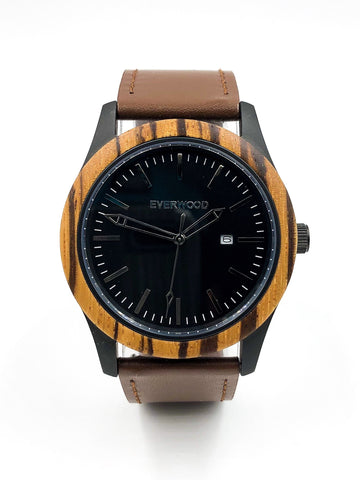 Inverness | Zebrawood | Brown Leather - Natal Fashion