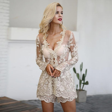 Sequin Lace Two-Piece Mesh Embroidery Backless Play Suit - Natal Fashion
