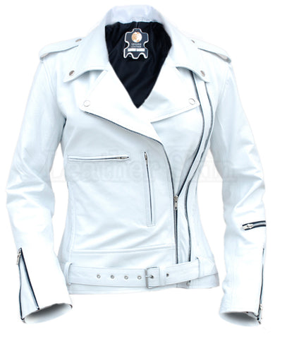 White Angel Belted Brando Leather Jacket - Natal Fashion