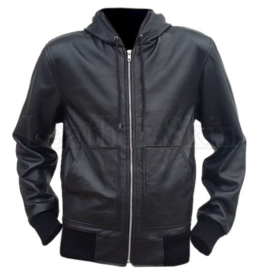 Men Black Hooded Leather Jacket - Natal Fashion