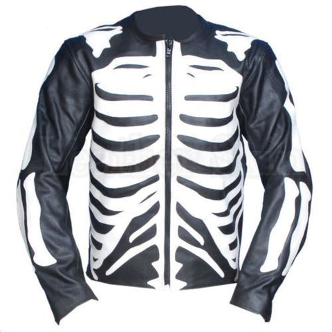 Black Skeleton Biker Leather Jacket - Natal Fashion