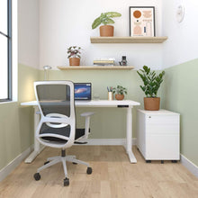 Load image into Gallery viewer, schiavello home office dash desk chaite white frame and white krossi desk and white cache pedestal storage