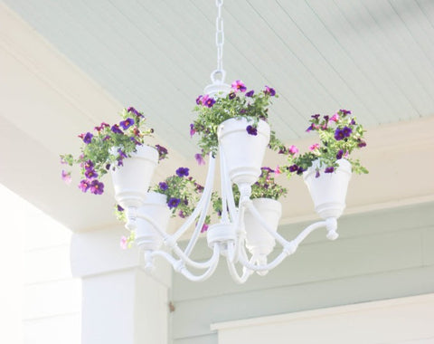 Upcycled Chandelier into a Garden Planter