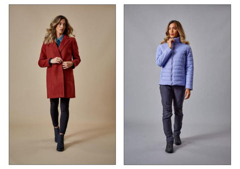 Womens Lilac Padded Jacket & Red Trench Coat
