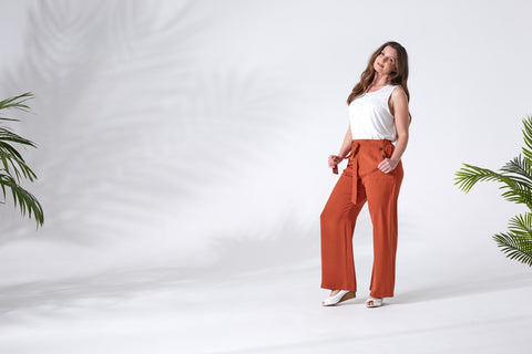 Wide Leg Trousers & White Top on Model