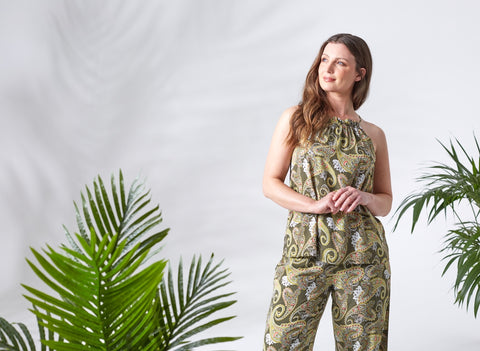 Printed Top & Trousers Set on Model