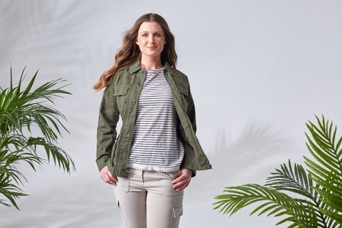 Layered Green Jacket and Striped Top on Model