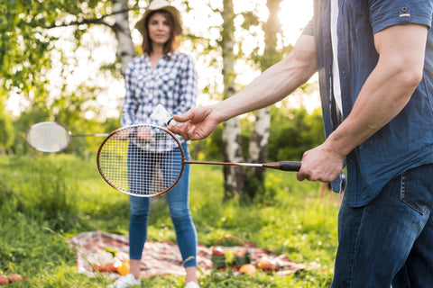 Playing Badminton in the Park