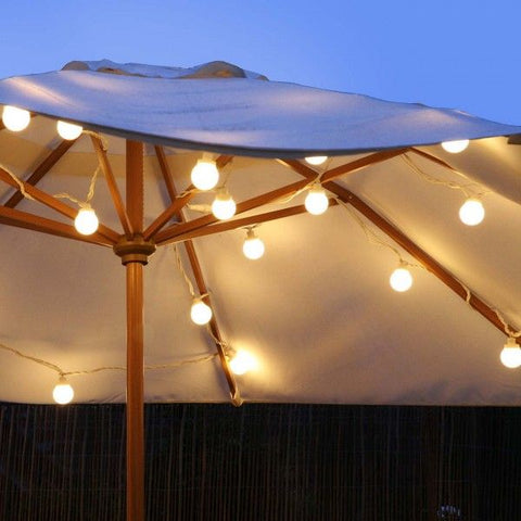 String Lights Wrapped Around a Parasol