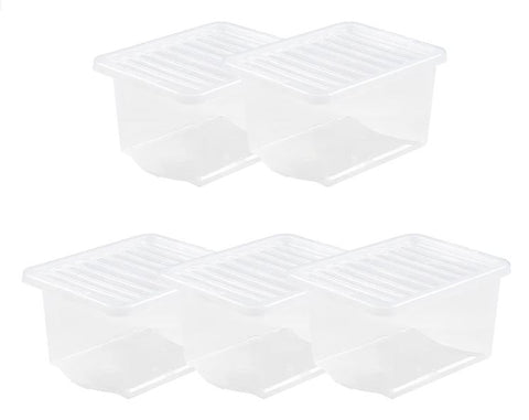 Wham Crystal 28L Storage Boxes - Pack of 5