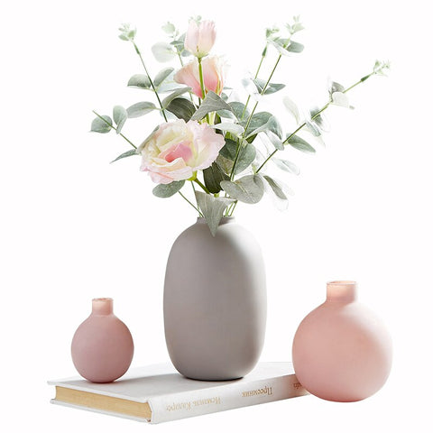 Pink & Grey Vases with Flowers