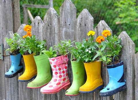 Upcycled Wellies as Plant Pots