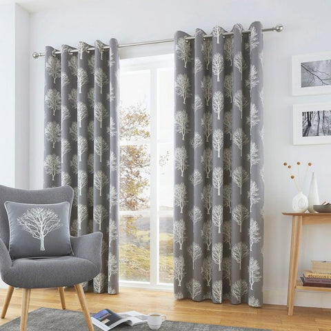 Woodland Trees Eyelet Curtains in Charcoal