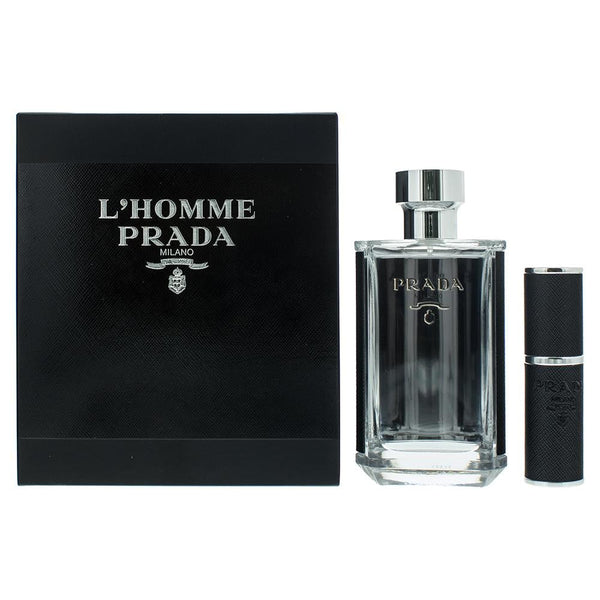 Prada L'homme Eau De Toilette Gift Set : Eau De Toilette 100ml - Eau De Toilette Refillable 8ml