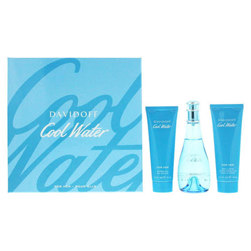Davidoff Cool Water Woman 3 Piece Eau De Toilette 100ml Body Lotion 75ml Shower Gel 75ml