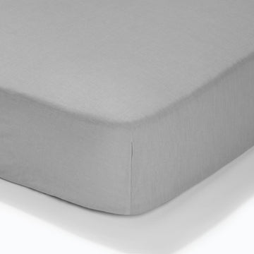 At Home Percale Fitted Sheet - Soft Grey