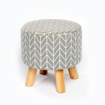 Fabric Foot Stool - Chevron Grey