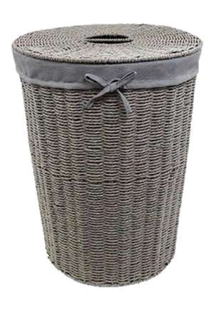 Round Paper loom Grey Laundry Basket