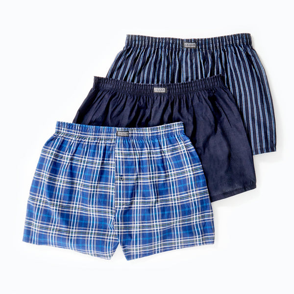 Originals 3Pk Mens Woven Boxer Shorts - Navy Stripe