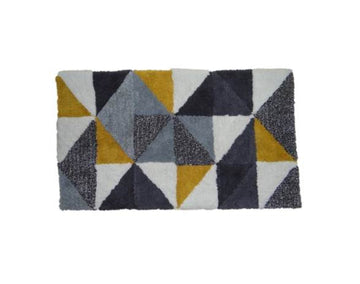 Grey Geometric Cotton Bathmat