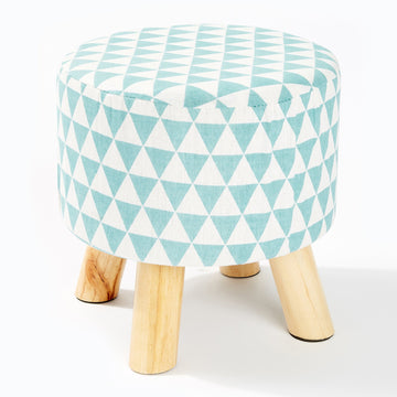 Fabric Foot Stool - Geometric Duck Egg