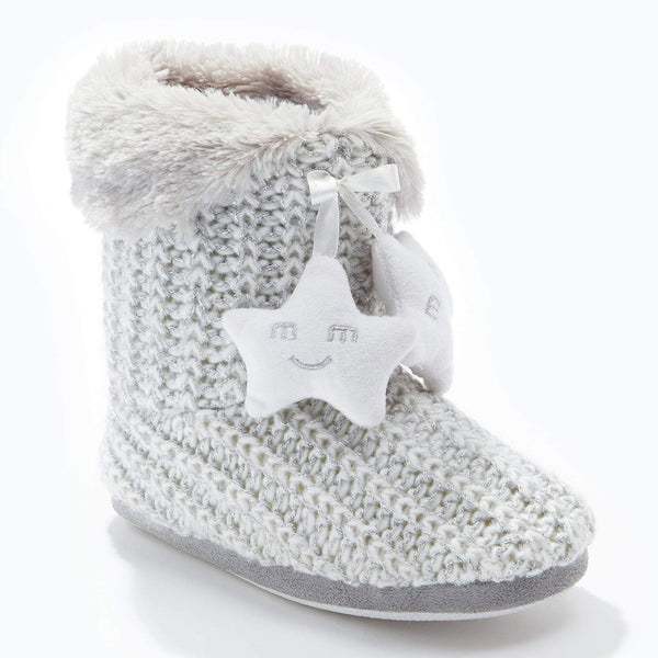 Cable Knit Bootee Grey White