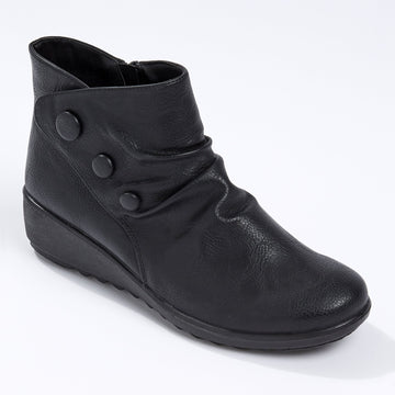 Cushion Walk Rouched Button Boot Black