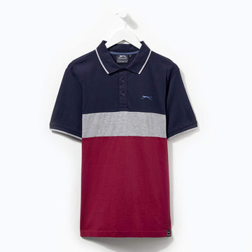 Slazenger Cut And Sew Polo Navy/Grey/Red