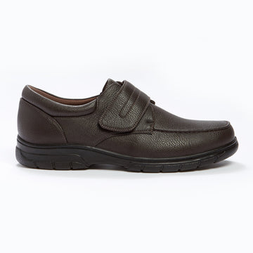 Cushion Walk Velcro Strap Shoe Brown