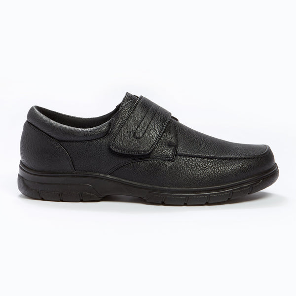 Cushion Walk Velcro Strap Shoe Black