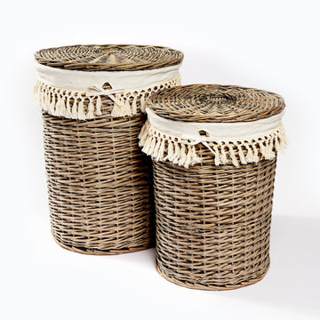 Natural Laundry Basket With Rope Tassel Lining