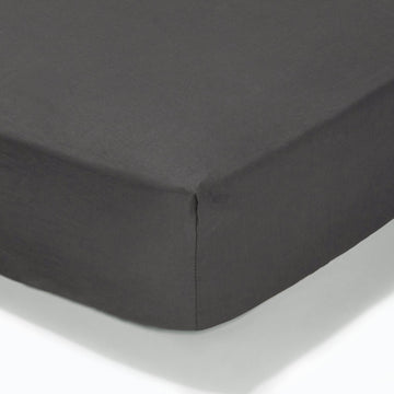 At Home Percale Fitted Sheet - Charcoal