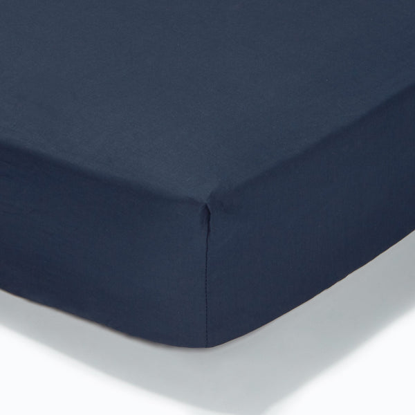 At Home Percale Fitted Sheet - Navy