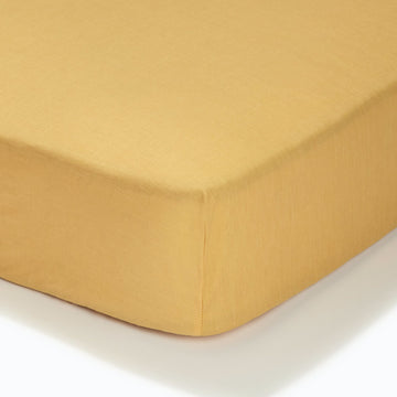 At Home Percale Fitted Sheet - Ochre