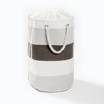 Fabric Stripe Laundry Bag Grey 50X35Cm