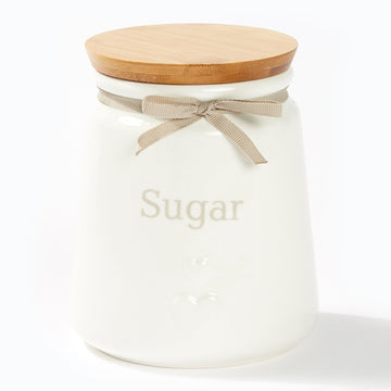 Heart Canisters With Bamboo Lid - Sugar