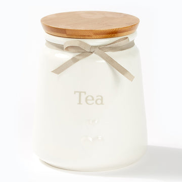 Heart Canisters With Bamboo Lid - Tea