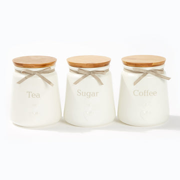Heart Canisters With Bamboo Lid - Coffee