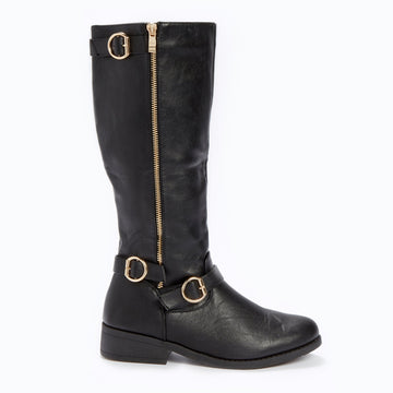 3 Buckle Knee High Boot - Black