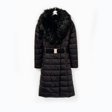 Padded Fur Trim Jacket - Black