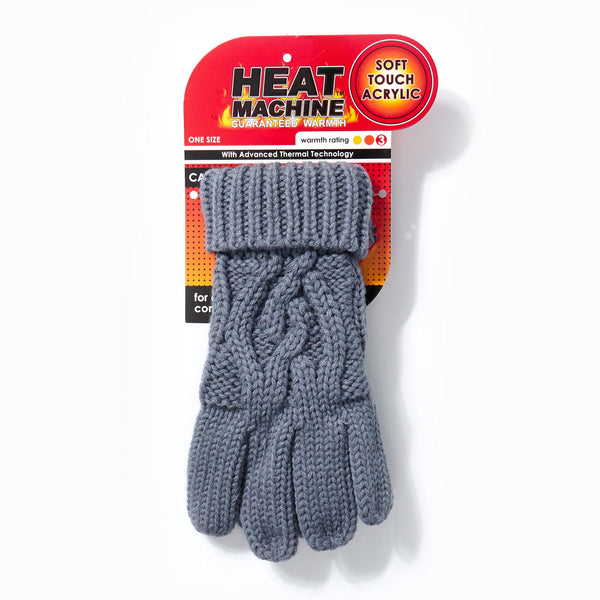 Heat Machine Gloves Cable Knit - Grey
