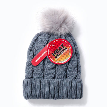 Heat Machine Pom Pom Hat - Grey